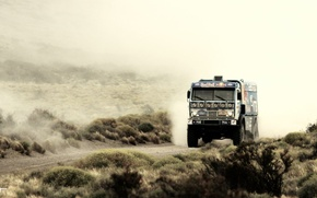 Picture road, sand, the sky, grass, blue, the steppe, dust, dal, truck, Russia, kamaz, russia, KAMAZ, …