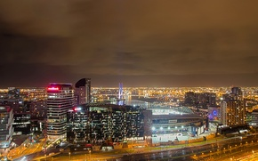 Picture the sky, clouds, night, lights, England, home, panorama, manchester