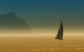 Picture the sky, trees, lake, boat, sail, haze