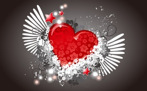 Picture flowers, heart, wings, vector