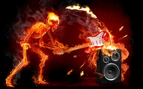 Wallpaper fire, guitar, skeleton, rock