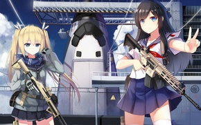 Picture the sky, clouds, smile, weapons, girls, ship, anime, art, form, yuri shoutu