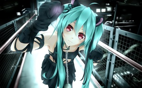 Picture girl, smile, the fence, anime, art, chain, collar, vocaloid, hatsune miku, bell, baguscasbon, dmith