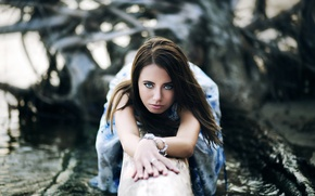 Picture look, water, girl, dress, brunette, log, Oleg Voloshin, Oleg Volosuhin