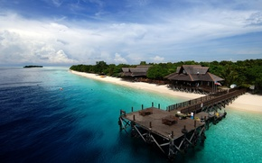 Picture summer, beach, trees, sea, beautiful, island, tropical, resort, dock, white sand