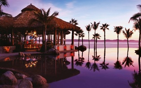 Picture palm trees, the ocean, the evening, pool, Mexico, Los Cabos