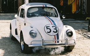 Picture white, background, Volkswagen, Beetle, the front, Beetle, Volkswagen, Beatle, Herbie, Herbie