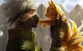 Picture Fox, naruto, scar, art, guy, hatake kakashi, tails, bandana, genya other