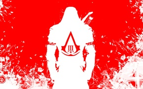 Wallpaper red, coat of arms, white, assassins creed 3, killer, fragments, Connor, ubisoft