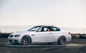 Picture white, the sky, black, bmw, BMW, coupe, white, wheels, drives, black, side view, e92