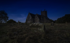 Picture the sky, grass, night, castle, cemetery, tombstones, Wallpaper from lolita777