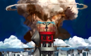 Picture girl, the city, tower, anime, panorama, a nuclear explosion, Hatsune Miku, Vocaloid, art