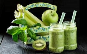 Picture leaves, apples, food, kiwi, Bank, drinks, celery, 13smile