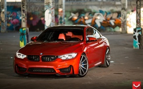 Picture BMW, turbo, red, wheels, Coupe, power, germany, vossen, angel eyes, F82.tuning