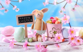 Picture flowers, eggs, spring, rabbit, Easter, tulips, flowers, tulips, spring, Easter, eggs, decoration, Happy