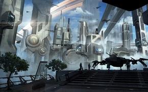 Wallpaper the city, future, fiction, building, megapolis, starship