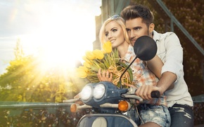 Picture girl, flowers, pair, tulips, male, scooter