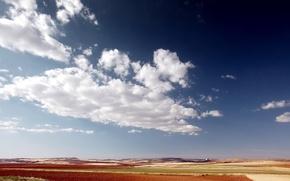 Wallpaper plain, Field, clouds