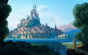 Picture forest, landscape, mountains, bridge, river, castle, figure, cartoon, art, Rapunzel, Tangled, Rapunzel, Walt Disney, Rapunzel: …