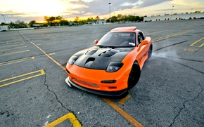 Picture car, machine, style, Wallpaper, orange, skid, drift, drift, car, mazda, japan, style, shift, jdm, rx7, …