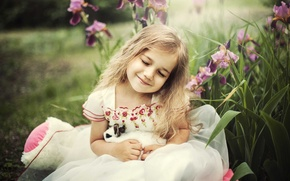 Picture joy, happiness, rabbit, girl, iris