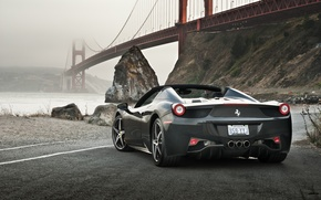 Picture Ferrari, 458, Bridge, Water, Back, Gray, Spider, Supercar, Rocks