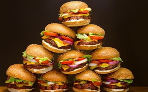 Picture food, Hamburger, bread, pyramid, meat, vegetables, a lot, roll