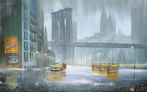 Picture the city, rain, picture, taxi, Jeff Rowland