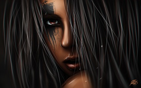 Picture look, girl, style, graphics, portrait, drawing, digital art, Mark Raid