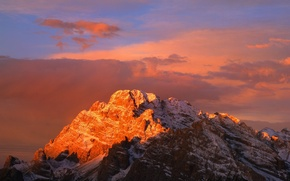 Picture sunset, red, Mountains