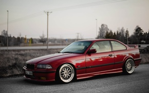 Picture Road, Red, BMW, BMW, Red, oldschool, 3 series, E36, Stance