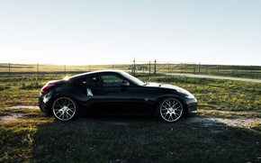 Wallpaper the sun, glare, the fence, Nissan, 370Z