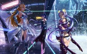 Wallpaper weapons, girls, snow, anime