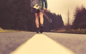 Picture road, girl, music, guitar