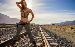 Picture girl, weapons, railroad