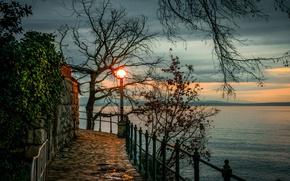 Wallpaper Croatia, trees, Bay, shore, the evening, lantern, branches, Opatija, Opatija, sunset