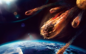 Picture fire, planet, heat, atmosphere, meteor, friction