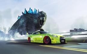 Picture GTR, Nissan, Green, Speed, Godzilla, R35, Liberty, Walk
