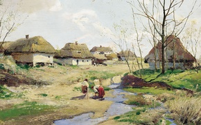 Picture oil, Tree, Sergei VASILKOVSKY, Spring day in Ukraine, (1854-1917)