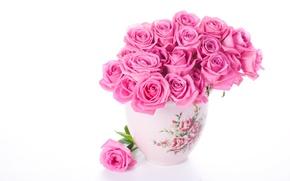 Picture flowers, roses, bouquet, vase