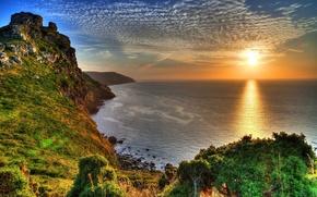 Picture sea, the sky, the sun, rays, sunset, stones, rocks, coast, England, beauty, horizon, Exmoor National ...