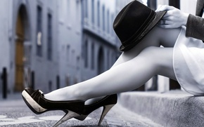 Picture girl, hat, legs, heels