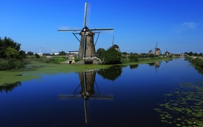 Picture the sky, water, channel, Netherlands, windmill