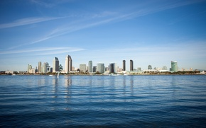Picture city, USA, United States, skyline, Pacific Ocean, coast, water, California, San Diego, view, shore, buildings, …