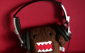 Picture background, Red, monster, headphones, plush