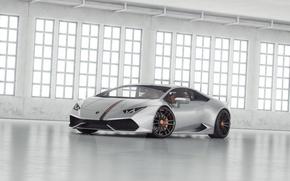 Picture white, Lamborghini, hangar, tuning, Huracan, LP 610