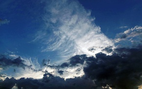 Picture the sky, clouds, flight, light.