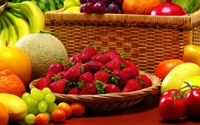 Picture berries, watermelon, strawberry, grapes, bananas, fruit, still life, vegetables, tomatoes, garnet, melon, tangerines, the kumquats