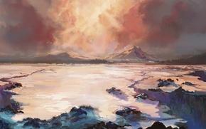 Picture mountains, art, painted landscape