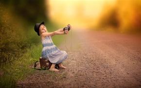 Wallpaper camera, Selfie waiting, road, girl